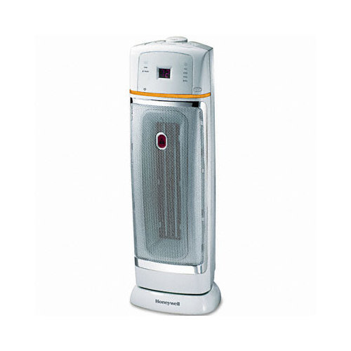Honeywell 1500W Oscillating Ceramic Heater, 9-3/8 x 9-1/2 x 22-3/4, Chrome/Gray