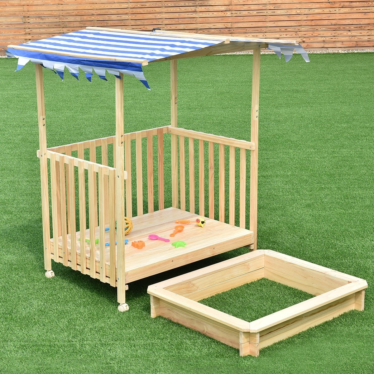 New MTN-G Beach Cabana Sandbox Retractable Playhouse With...