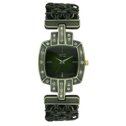 1928 Antiqued Bronze-tone Woven Link Chain Green Dial Watch