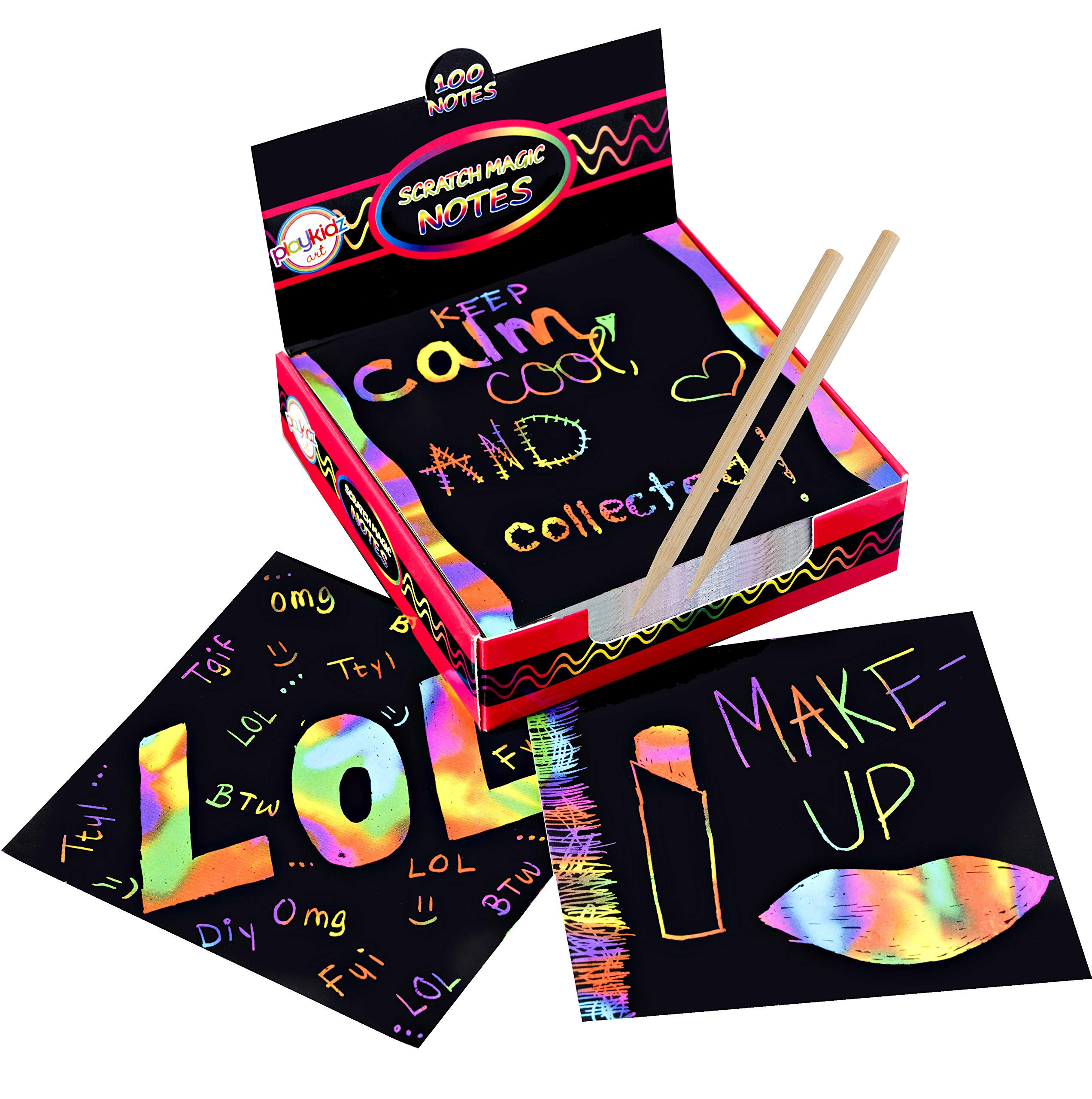 Scratch Art Kit  Magic Scratch Off Notes & [2] Stylus Tools for Kids & Adults  100 Black Paper Sheets  Create Colorful Rainbow Cards, Bookmarks, Notes, Pictures & Other Art Without Ink