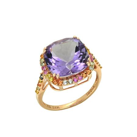 6.98 ct Pink Amethyst Multi Sapphire Solid 14k Rose Gold Ring Amethyst Pink Sapphire Ring