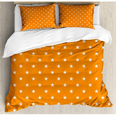Stars Queen Size Duvet Cover Set, Abstract Warm Colored Background with Star Pattern Festive Celebration Pattern, Decorative 3 Piece Bedding Set with 2 Pillow Shams, Orange White, by Ambesonne ()