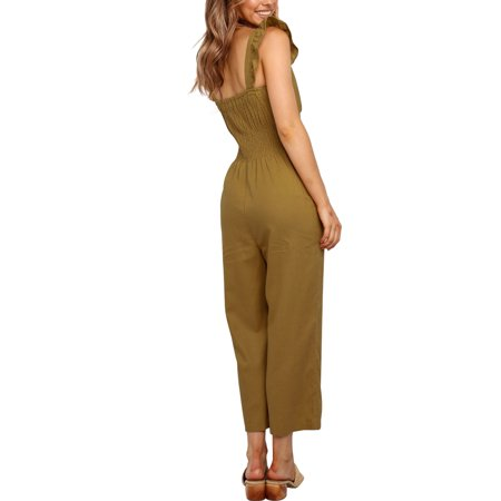 Womens Long Jumpsuit Sleeveless Strappy Romper Playsuit with Pockets Wide Leg Pants Outfits - image 4 of 7