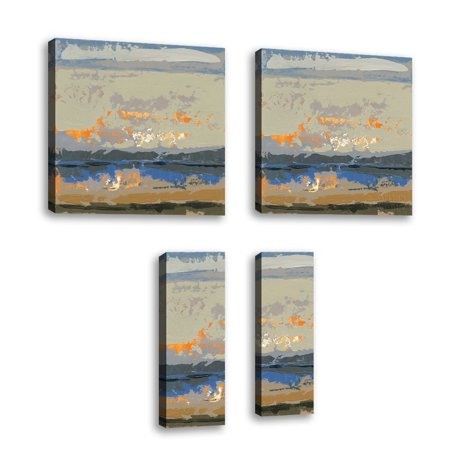 Set of 4 - Evening Killala Bay II - Contemporary Fine Art Giclee on Canvas Gallery Wrap - wall décor - Art painting - 6 x 18 Inch - Ready to Hang