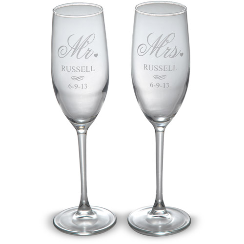 Personalized Mr. and Mrs. Champagne Flutes