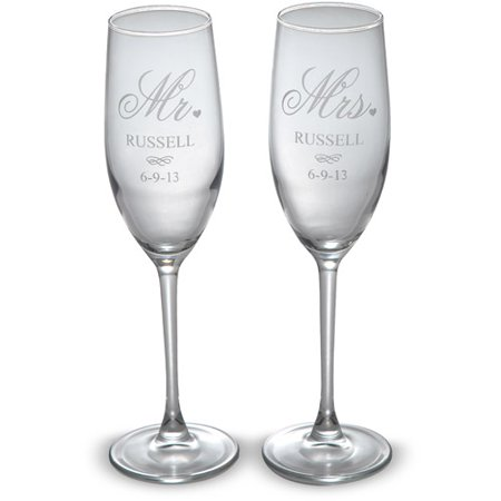 Personalized Mr And Mrs Champagne Flutes Set Of 2