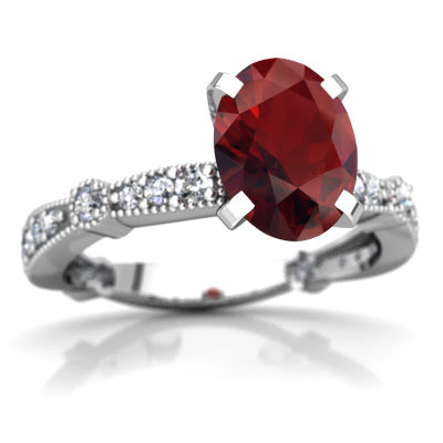 Garnet Milgrain Antique Style Ring in 14K White Gold by