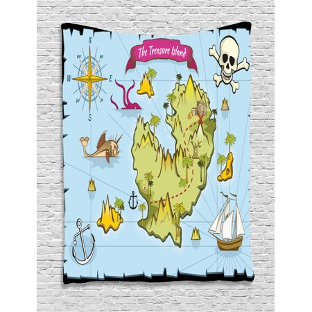 Island Map Decor Tapestry, Treasure Island Skul Nautical Design Pirate Theme Fictional Fish Kids Room, Wall Hanging for Bedroom Living Room Dorm Decor, 40W X 60L Inches, Multi, by Ambesonne](Pirate Theme Decor)