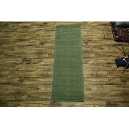 Rugsource Green Modern 8 Ft Runner Rug Hand Knotted 3x8 Gabbeh Oriental 100 Wool
