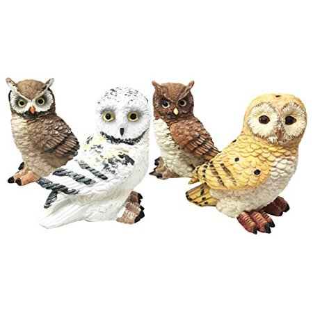 2 Owl Figurines - Colorful Nocturnal Cute Barn Great Horned Snowy & Screech Owl Chicks Figurine Set Of 4 Collectible