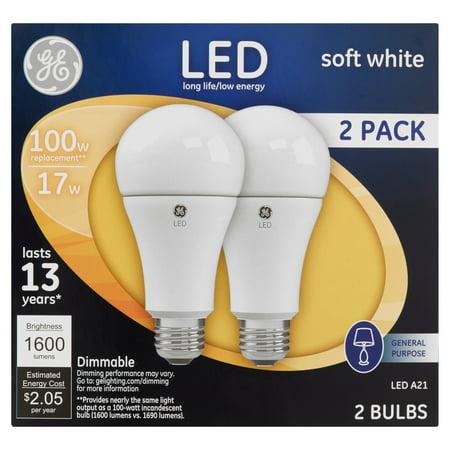 GE 100W Equivalent (Uses 17W) Soft White A21 LED Bulb, 2-Pack