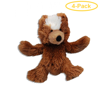 - Kong Plush Teddy Bear Dog Toy X-Small - 3.5 - Pack of 4