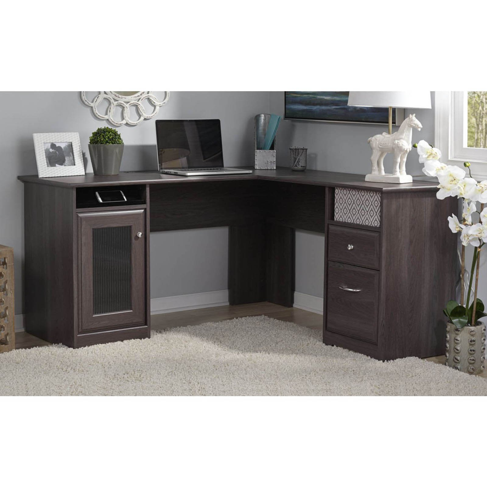 new product 196e7 7a971 Bush Cabot L-Shaped Desk with Optional Hutch - Walmart.com