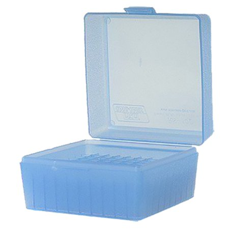 MTM R-100 RIFLE AMMO BOX SMALL CAL 17/223 100RD POLY CLEAR BLUE