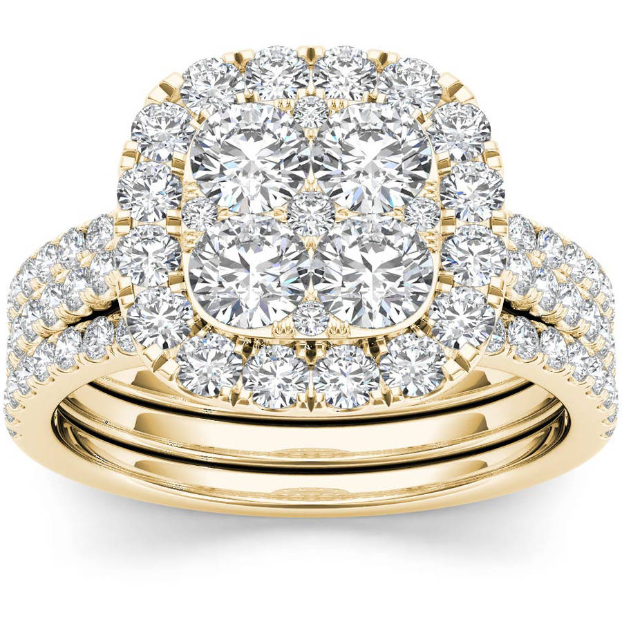 Imperial 2 Carat T.W. Diamond Single Halo Cluster Two-Band 14kt Yellow Gold Engagement Ring Set