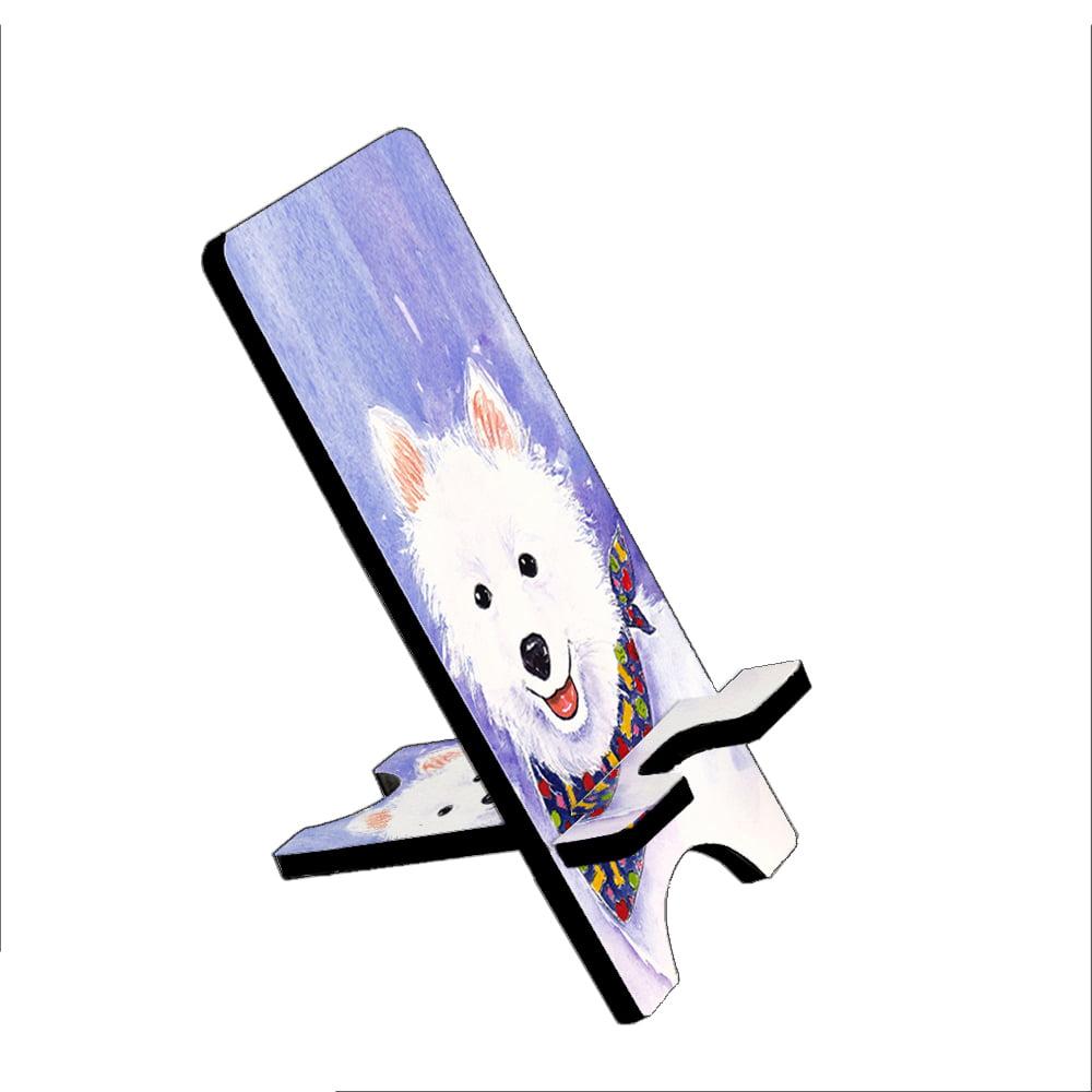 American Eskimo Dog Eskie Art by Denise Every - KuzmarK Folding Stand fits iPad Mini iPhone Samsung Galaxy