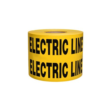 Non-Detectable Underground Tape - Caution Buried Electric Line Below - 6 in x 1000 ft Roll 4 Roll/Case - Yellow