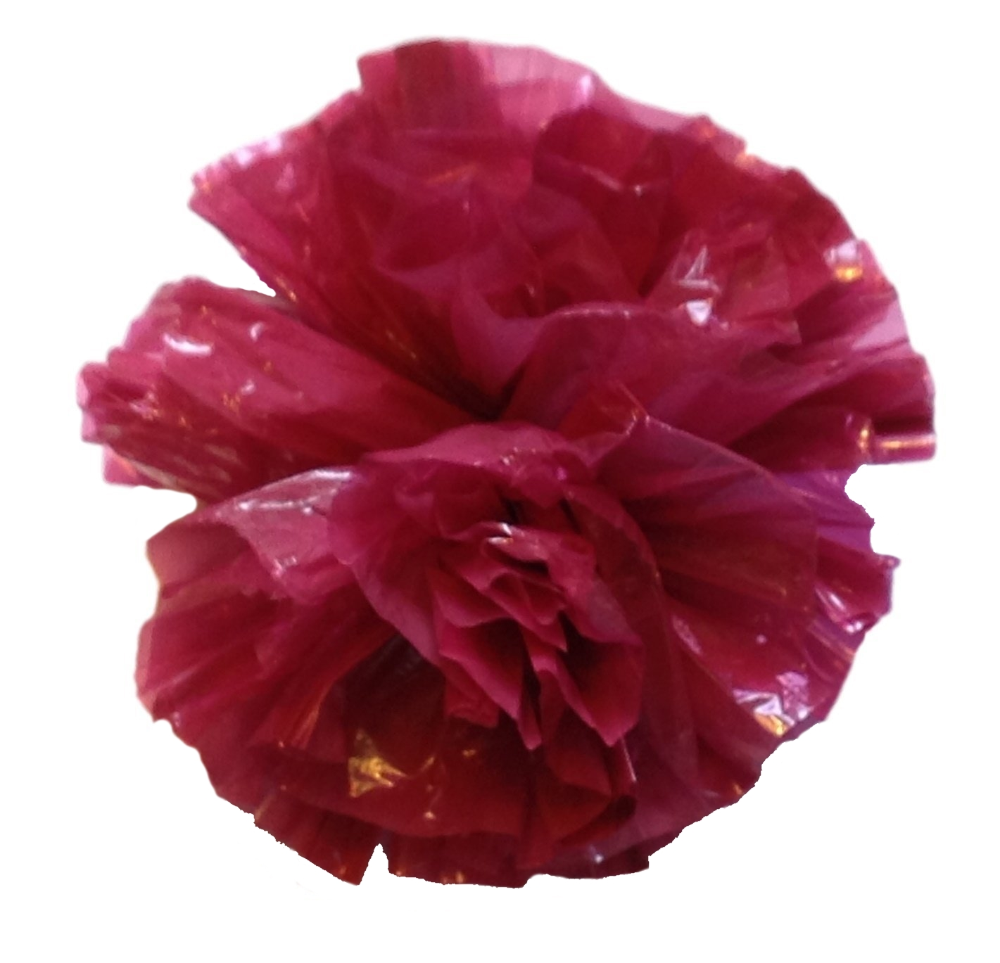 12 Plastic Flower Poms with Suction Cups Car/Limo Decoration Deco-Puffs - burgundy