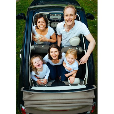 Canvas Print Looking Man People Woman Car Family Children Stretched Canvas 10 x (Best Family Car For 5 People)