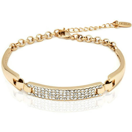 18k Gold Overlay Block Bracelet with Swarovski