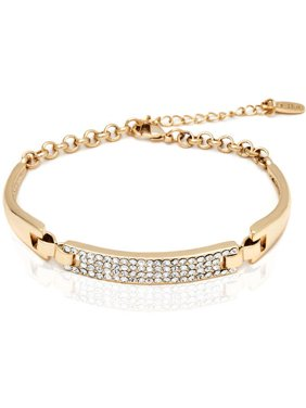 18k Gold Overlay Block Bracelet with Swarovski Elements
