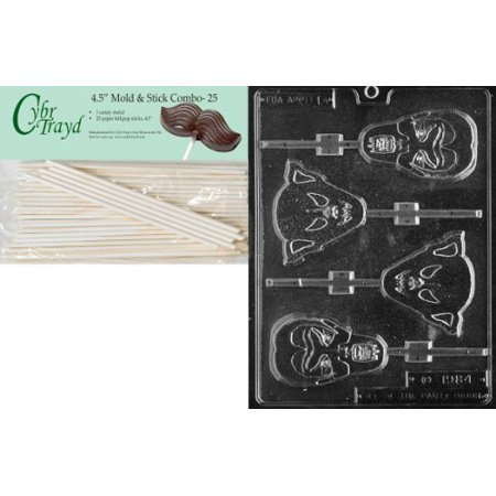 Cybrtrayd 45St25-H014 Assorted Ghouls Lolly Halloween Chocolate Candy Mold with 25 4.5-Inch Lollipop Sticks