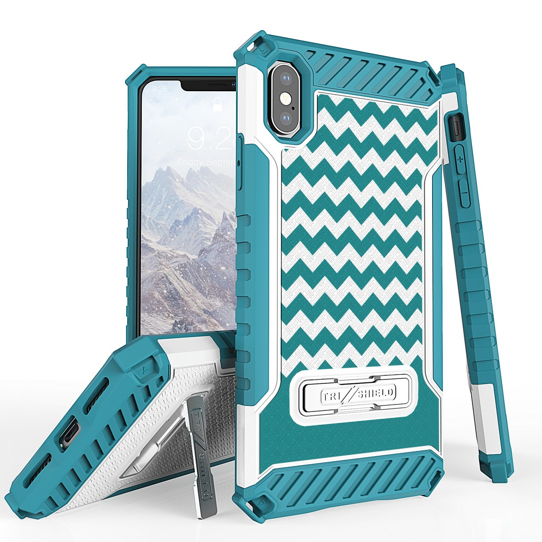 Beyond Cell Tri Shield Military Grade Shock Proof [MIL-STD 810G-516.6] Kickstand Case Cover for iPhone Xs Max - Teal Chevron