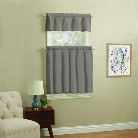 24 Tailored Tier Curtains (Mainstays Solid Kitchen Window Curtain Tier and Valance Set )