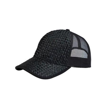 - Low Profile Structured Mesh Straw Trucker Cap