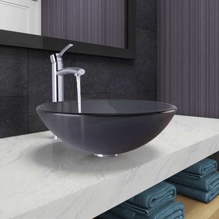 VIGO  Sheer Black Frost Glass Vessel Bathroom Sink and Milo Faucet Set in Chrome Finish ()
