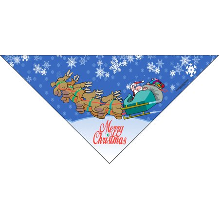 Merry Christmas Dog Bandana -  Santa and his Reindeer Sleigh - Perfect Holiday Canine Gift! (Med to Lrg)