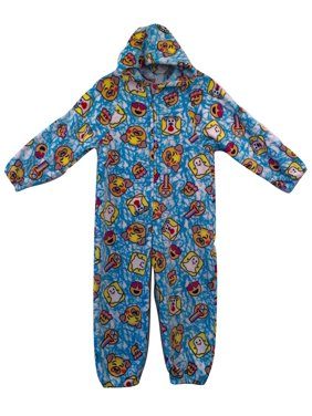 Made with Love and Kisses Kid's Fuzzy Plush Jumpsuit / One Piece Pajama with Hood