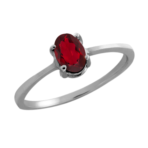 0.50 Ct Oval Red Mystic Topaz 18K White Gold Ring