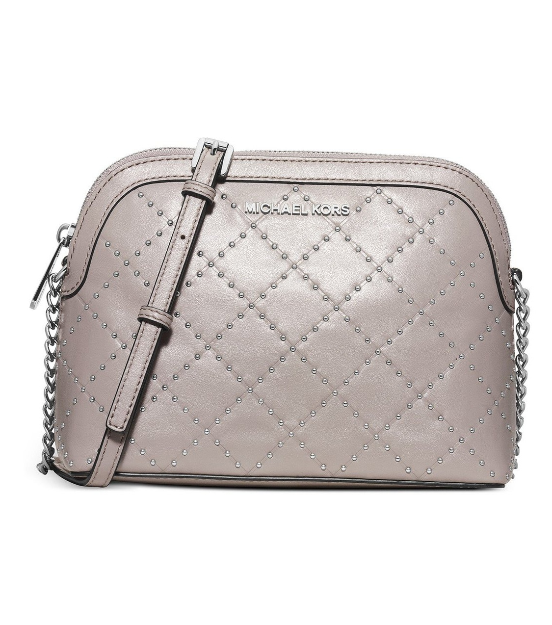 3e5a73a0bf45 ... coupon for michael michael kors microstud cindy large dome crossbody in  pearl grey 643e2 b71fb