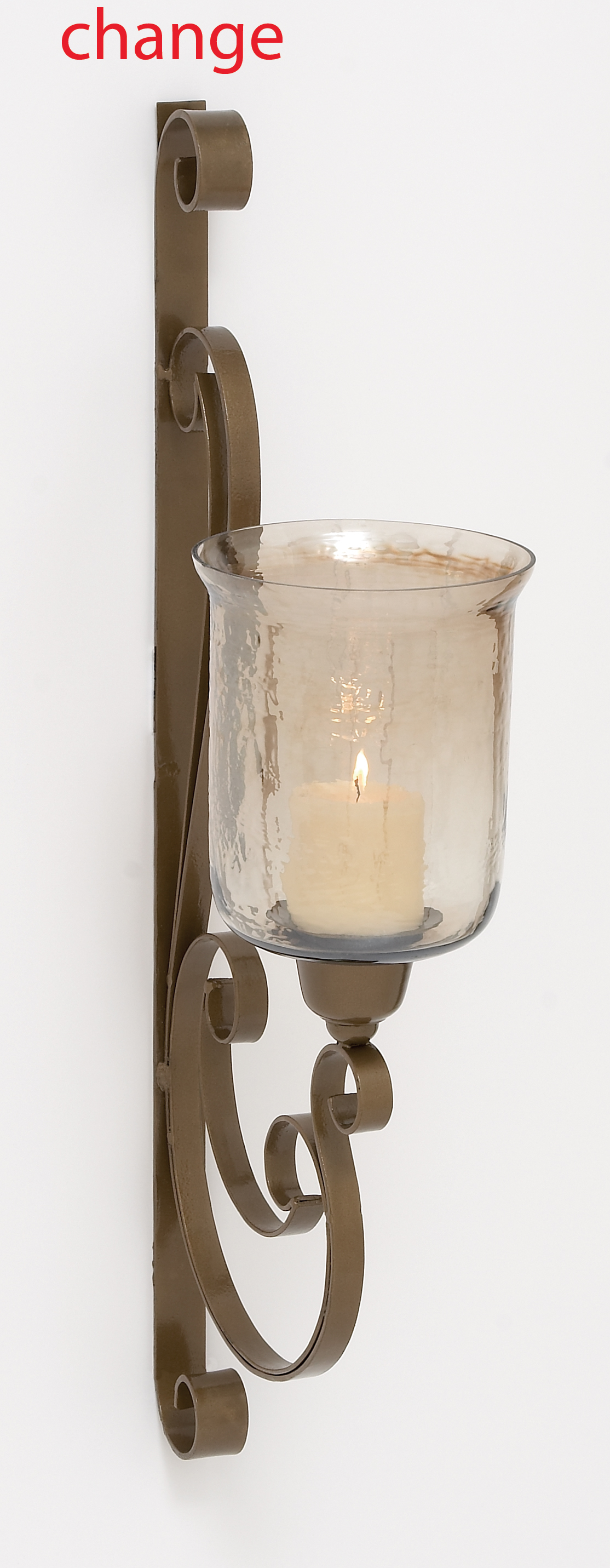 Gorgeous Indian Metal Glass Wall Candle Sconce by Benzara