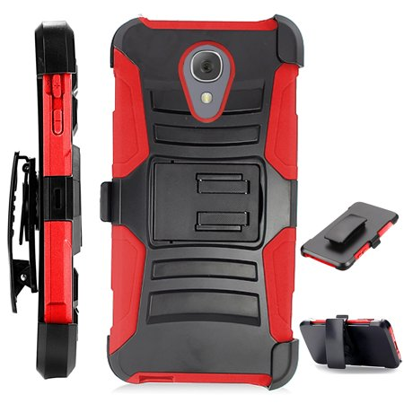 Compatible Alcatel idealXTRA | 1X Evolve (2018) | TCL LX Phone Case Advanced Armor Hybrid Cover w/ Holster (Black/Red)