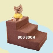 Coziwow Pet Stairs 3 Steps Indoor Dog Cat Steps Ramp Ladder for Puppies Up to 55 lbs, Coffee
