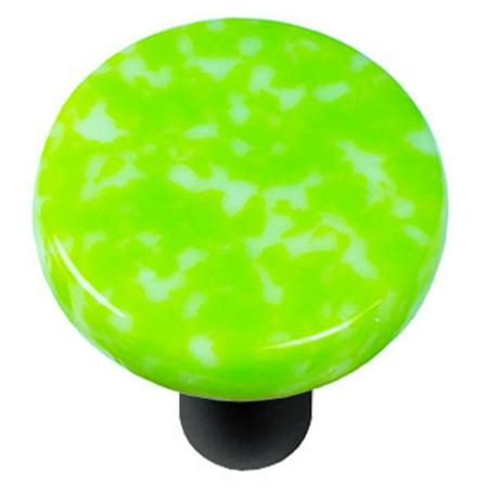 Granite Light Post - Hot Knobs HK8052-KRB Granite Spring Green & White Round Glass Cabinet Knob - Black Post