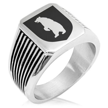 Stainless Steel Bear Ferocity Coat of Arms Shield Needle Stripe Pattern Biker Style Polished - Ring Mistress Jacket