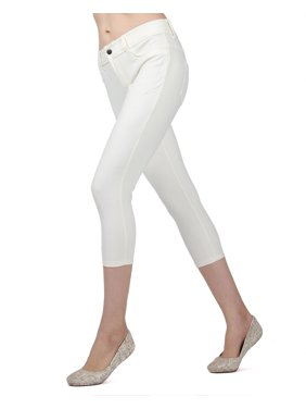 Memoi Light Ponte Capri Leggings | Women's Hosiery - Premium Capri Leggings Small / Ivory MQ 064