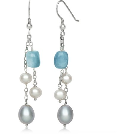 (Cultured Freshwater Pearl and Natural Milky Aquamarine Sterling Silver Dangle Earrings)