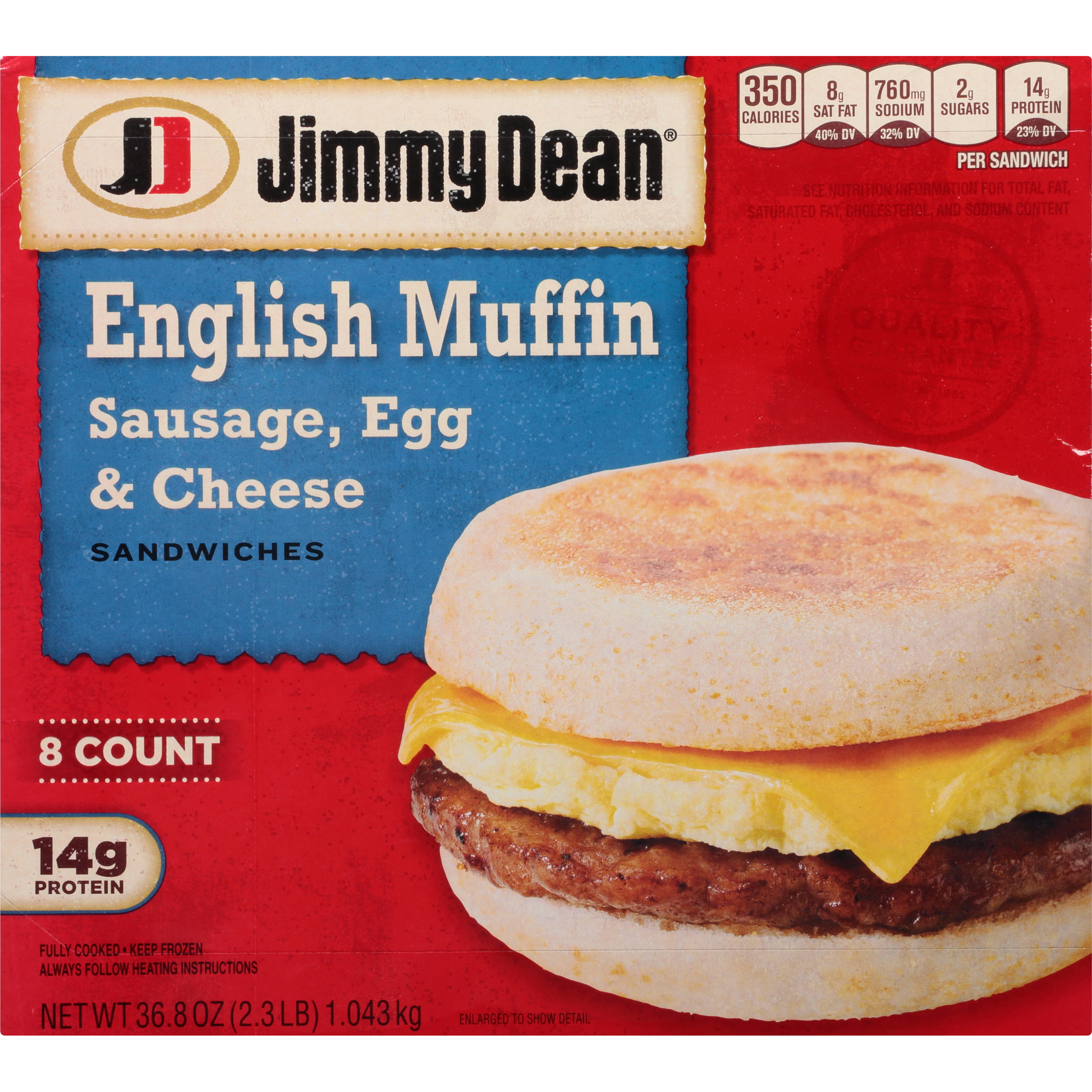 Jimmy Dean® Sausage, Egg & Cheese English Muffin Sandwiches, 8 Count ...
