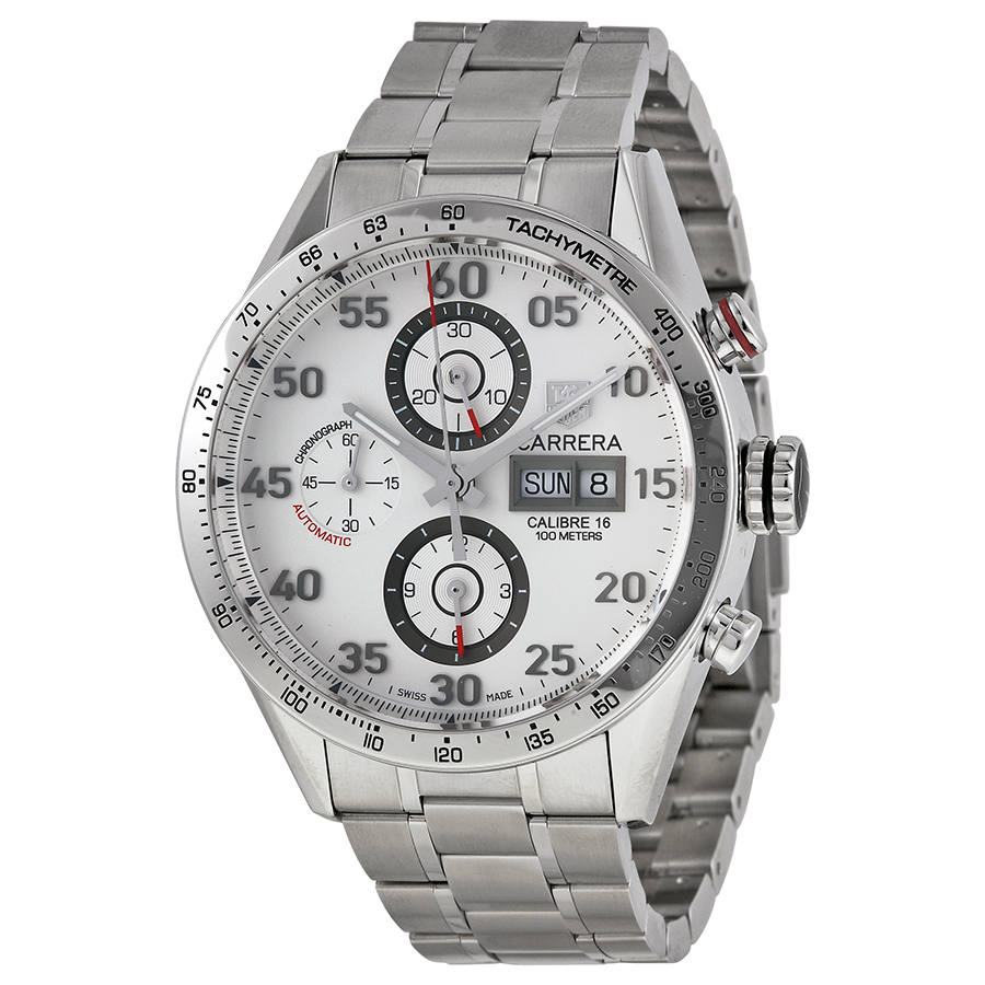 Tag Heuer Carrera Day-Date Silver Dial Mens Watch CV2A11....