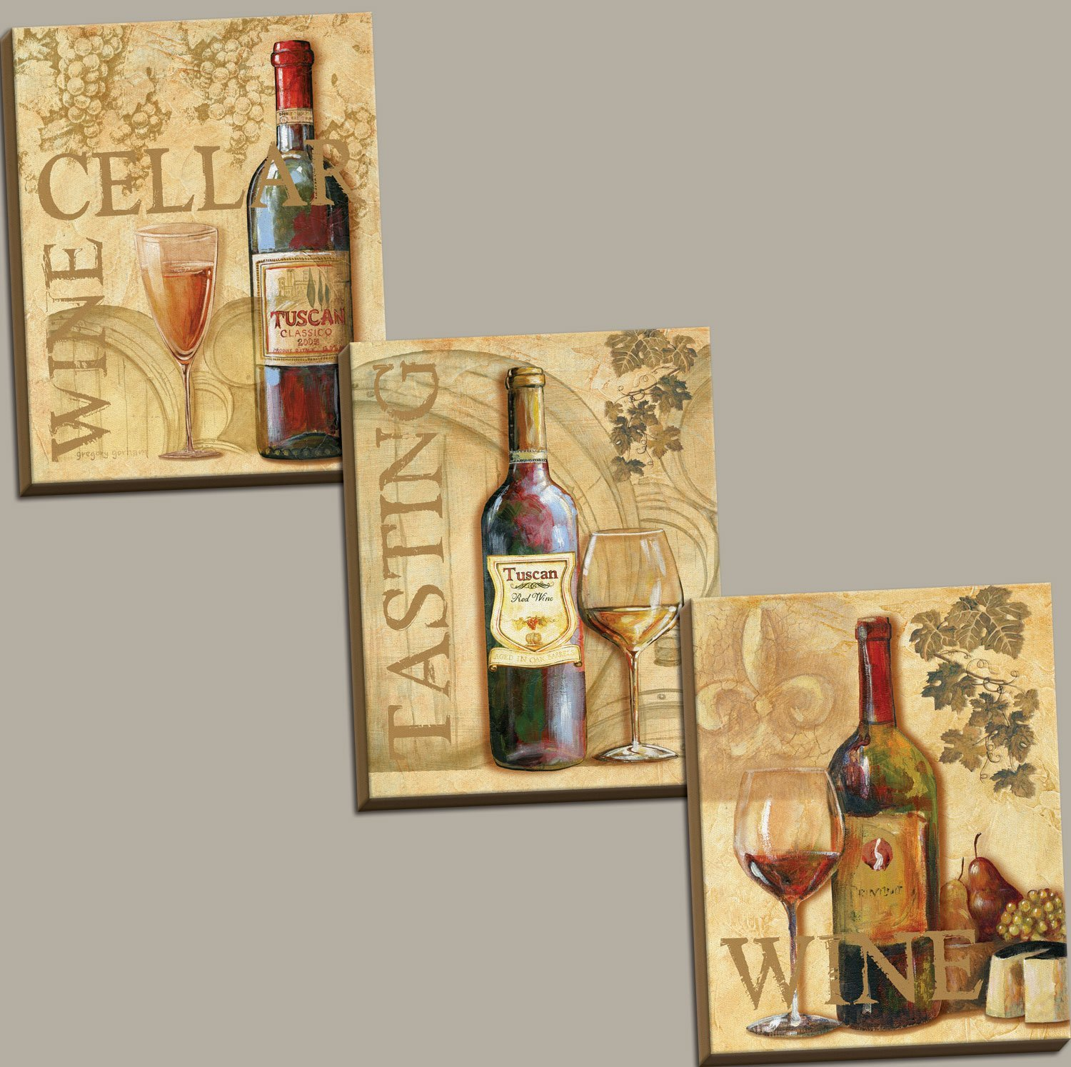 3 Wine Grape Art Tuscany Canvases; Kitchen Décor; Three 11x14in Hand-Stretched Canvases, Ready to Hang!