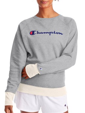 Champion Women's Powerblend Fleece Boyfriend Crew Neck Sweatshirt -Graphic