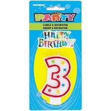 Number 3 Birthday Candle and Happy Birthday Cake Decoration (Pack of 2) - Number 2 Candle