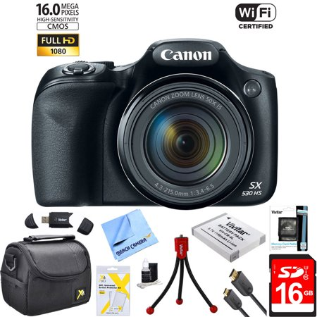 Canon Powershot Sx530 Hs 16Mp Wi Fi Super Zoom Digital Camera W  50X Optical Zoom Ultimate Bundle Includes Deluxe Camera Bag  32Gb Memory Card  Extra Battery  Tripod  Card Reader  Hdmi Cable And More