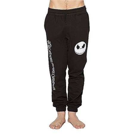PanTeez Nightmare Before Christmas Jack Skellington Head Men's Black Jogger Lounge Sleep Bottom Sweatpants - Nightmare Before Christmas Adult Onesie