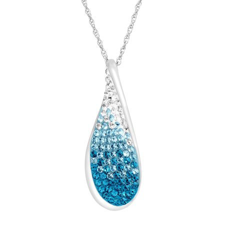 - Wave Pendant Necklace with Ombr? Swarovski Crystals in Sterling Silver
