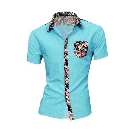 Unique Bargains Men's Casual Single Breasted Short Sleeve Pocket Floral Print Shirt